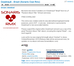 Deadmau5 - Brazil (Sonaris Club Rmx) - 1000 Downloads!
